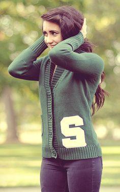 #MSU #Michigan State Letterman Cardigan from Alma Mater, almamaterwear.com