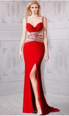 Sheath Sweetheart Side Cutout Red Jersey Beaded Prom Dress With  Straps reddresses Straps Prom Dresses b6e580a3ecf1