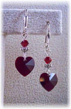 New Swarovski Red/Garnet Heart Charm Crystal Silverplate Earrings-Love N' Hearts Collection Heart Earrings, Crystal Earrings, Beaded Earrings, Beaded Jewelry, Handmade Jewelry, Valentines Jewelry, Holiday Jewelry, Heart Jewelry, Jewelry Patterns