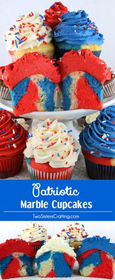 Patriotic Marble Cupcakes - beautiful and colorful cupcakes that would be a great 4th of July dessert, Memorial Day Treat or Olympics viewing party snack. Cupcakes never looked so good or were so easy to make. What a fun and delicious 4th of July Treat. Pin this great 4th of July Cupcake for later and follow us for more fun 4th of July Food Ideas.