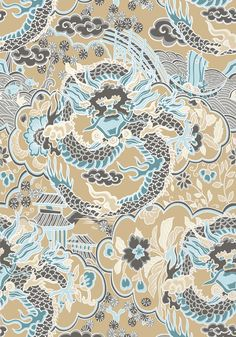 IMPERIAL DRAGON, Aqua and Beige, T14238, Collection Imperial Garden from Thibaut