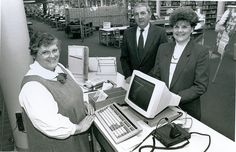 The installation of our first check-out terminal at the Lawrence branch, c. 1985. #TBT #mclsnj