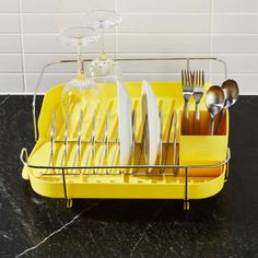 Shop Polder ® Yellow Corkscrew Dish Rack.  Life meets style™ at the intersection of form and function courtesy of the bright minds at Polder Housewares.