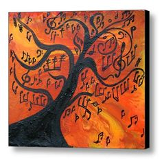 Abstract Print, Music painting, Abstract music art print, Musical Notes, Tree, Modern Print on Canvas, Large Wall, Orange, Yellow, Black by juliaapostolova. Explore more products on http://juliaapostolova.etsy.com