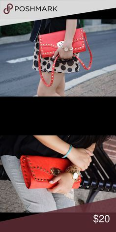 Red studded cross body bag/clutch Almost new! Only used for photos! Bags Crossbody Bags