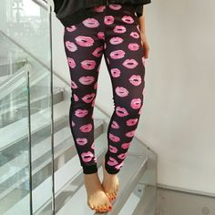"""ALMOST GONE💋Blow me a Kiss💋 joggers NWOT Brand new no tags  So fun and playful black joggers with pink kisses print on the front. Pair with you favorite statement sneakers and sports top or dress them up with heels and a t-shirt.  Size medium 95%polyester 5%spandex Length approx 35"""" Inseam approx 27"""" Elastic waist band, band allows for stretch in the waist  💗price is firm unless bundled (5%off bundled 3 or more) 💗 No trades  *Modeled in a small* Print varies on each pair Pants Track…"""