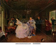 USSR - CIRCA 1947: Postcard printed in the USSR shows paint by Pavel Fedotov - Courting of Major, 1848, State Tretyakov Gallery, circa 1947 - stock photo