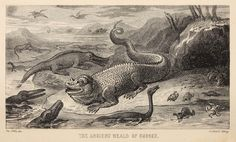 """""""The ancient Weald of Sussex""""; reconstruction of Iguanodon, crocodiles, turtles, plesiosaurs etc. From """"sketches in prose"""" (Richardson, 1833; artist: Nibbs). HD conversion from archive.org scan"""