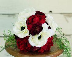 Silk Burgundy Marsala Peony Winter Wedding Bouquet - Marsala Burgundy Anemone Peony and Ranunculus - Silk Bouquet