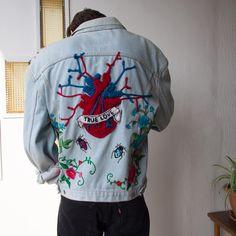Beautiful Custom Embroidered Jacket, Vintage Levis Handmade Embroidery Denim Jacket, decorated Levis Jeans jackets