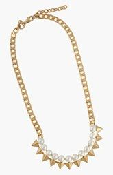 Rebecca Minkoff Faux Pearl & Spike Frontal Necklace