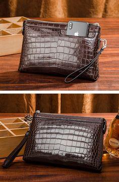 Designer Alligator Leather Large Wallet With Strap Wristlet Clutch Bag for  Men 918bdc59c7533