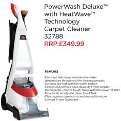 The BISSELL PowerWash Deluxe™ Carpet Cleaner is on of our most popular carpet cleaners. This product is great for cleaning your carpets, stairs, upholstery & more