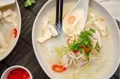 3 delicious soups made special with a little help from Olivado Cooking Avocado, Avocado Health Benefits, Cubed Potatoes, Soup Mixes, Fresh Coriander, Chicken Noodle Soup, Sesame Oil, Rice Noodles, Fish Sauce