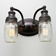 Personalize your light fixtures by replacing the standard shades with rustic glass jars