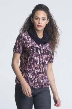 Cowl Neck Short Sleeve Velvet T-Shirt - Wine color with lady prints http://yzbuyer.com/products/women-neck