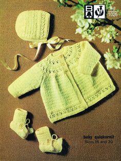Bellmans 1026 vintage baby matinee coat and bonnet vintage knitting pattern PDF instant download