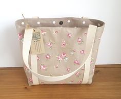 Fabric Shoulder Bag Canvas Tote Bag Knitting Project Bag Vegan Purse Canvas Beach Bag  Rosebud Fabric Handbag by HectorsHouseCraft on Etsy