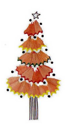 Sharpen those pencils – and not just to draw with! Use the shavings to create your own Christmas tree design. Diy And Crafts, Christmas Crafts, Crafts For Kids, Arts And Crafts, Christmas Decorations, Christmas Ornaments, Pencil Shavings, Christmas Activities, Kids Christmas