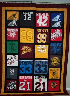 Quilting Studio Adventures: The Isherwood Hockey Quilt - and a few other things Hockey Crafts, Hockey Decor, Jersey Quilt, Hockey Shirts, Baseball Quilt, Sports Quilts, Farm Quilt, Boy Blankets, Quilt Making