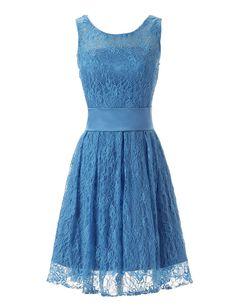Dressystar Elegantes Knielanges Ballkleid Spitzenkleid Abendkleid Blau in Größe 36