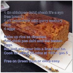 Slimming world Curry loaf. Slimming World Curry Loaf, My Slimming World, Slimming World Recipes, Savory Rice, Food And Drink, Cooking, Desserts, Weight Loss, Ideas