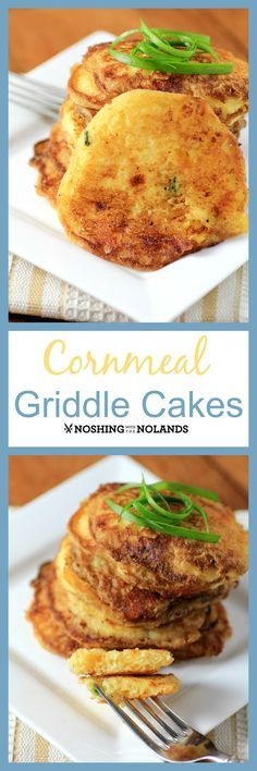 Cornmeal Griddle Cakes by Noshing With The Nolands are a flavorsome Southern dish that are perfect for sopping up gravy or sauces! They are crispy on the outside and soft and tender on the inside!