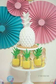 Check out these desserts at a flamingos and pineapples birthday party! See more party ideas at CatchMyParty.com!