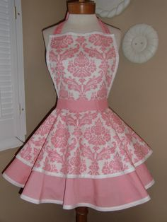 Pink Damask Print Womans Retro Apron With Tiered by mamamadison    Would totally cook in this lol