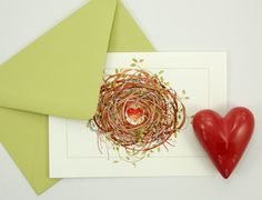 entwined love heart nest romantic card set by atticEditions.etsy.com