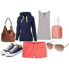 """navy & coral""-I already have the shorts and polish...just need the hoodie and shows"