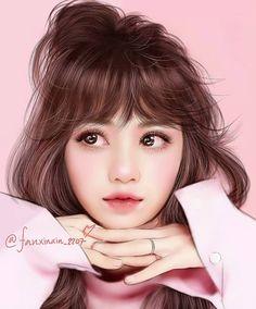 Digital Art Girl, Digital Portrait, Kpop Girl Groups, Kpop Girls, Dibujos Tumblr A Color, Blackpink Poster, Beautiful Girl Drawing, Lisa Blackpink Wallpaper, Black Pink Kpop