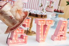 Marquee Letter Lights from a Vintage Carousel Birthday Party via Kara's Party Ideas - KarasPartyIdeas.com (21)