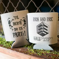 Beer koozie favors for a Halloween wedding Wedding Party Favors, Diy Wedding, Wedding Place Cards, Wedding Stuff, Real Weddings, How To Memorize Things, Place Card Holders, Halloween, Beer Koozie