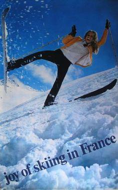 vintage ski poster - Joy of skiing in France - Affiche photo de JP Ducatez (1969)