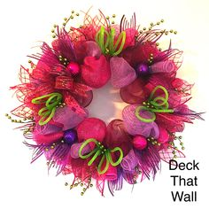 Pink Purple Christmas Mesh Wreath