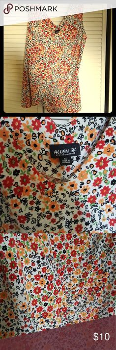 Darling floral top Has ruching and asymmetrical hem Allen B. By Allen Schwartz Tops