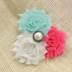 Pear accented rosette cluster hair clip.  May be worn alone or on a headband.  Available at www.theadorablechild.com Rosettes, Hair Clips, Pearl Earrings, Hair Accessories, Pearls, Jewelry, Fashion, Hair Rods, Moda