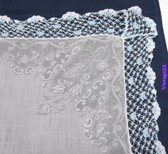 Vintage Handkerchief Crochet Border  blue  by vintage55motifs, $10.00