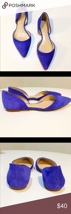 FLASH SALEBanana republic suede d'orsay flat Royal blue suede d'orsay flat by Banana republic. These have light wear, still in very good shape. One tiny mark I could find as seen in photos. Still have a LOT of wear in them. Size 8 medium. TTS. Banana Republic Shoes Flats & Loafers