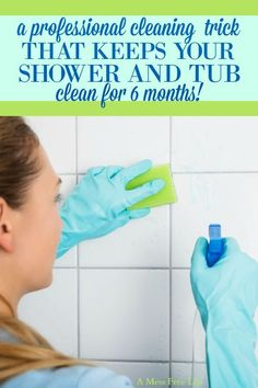 This really simple cleaning hack will save you time and resources when cleaning the tub, shower, grout and glass enclosures. It even handles and almost eliminates bathroom soap scum! The perfect cleaning solution for the busy mom! Deep Cleaning Tips, House Cleaning Tips, Cleaning Solutions, Spring Cleaning, Cleaning Products, Cleaning Checklist, Tub Cleaner, Shower Cleaner, Clean Bathroom Grout