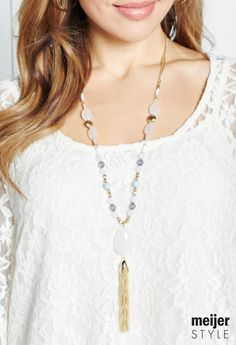 Get this season's must-have necklace that playfully mixes stones, metals and tassels. It's the best necklace for spring! #MeijerStyle