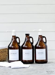 Gallon Jug – Laundry Soap Bottles – Detergent, Softener, Bleach – Refillable Bottles With Labels and Pump – Half Gallon Jug – Growlers – Laundry Room İdeas 2020 Laundry Organization, Laundry Detergent Storage, Organizing, Laundry Drying, Glass Dispenser, Soap Dispenser, Apothecary Bottles, Glass Bottles, Amber Bottles