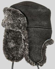 Frosted Black Shearling Sheepskin Russian Hat Winter Hats For Men ff9e888f96a7