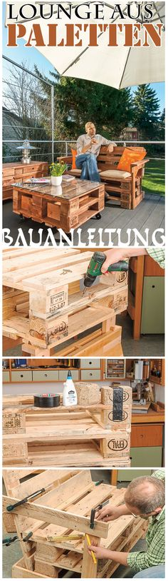 Gartenmöbel aus Europaletten Pallet furniture made of europallets are very popular. Diy Outdoor Furniture, Lounge Furniture, Pallet Furniture, Furniture Making, Garden Furniture, Furniture Design, Pallet Lounge, Small Chest Of Drawers, Bois Diy
