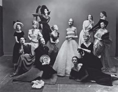 May 1, 1947 - Irving Penn.From left, seated: Marilyn Ambrose, Dana Jenney; standing, left to right: Meg Mundy, Helen Bennett, Lisa Fonssagrives; background: Betty McLauchlen; foreground: Dorian Leigh; seated: Andrea Johnson; standing, left to right: Lily Carlson, Elizabeth Gibbons, Kay Hernan; background: Muriel Maxwell