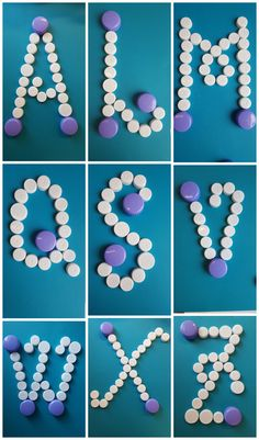Collage 1 van 9 letters gemaakt met verschillend materiaal