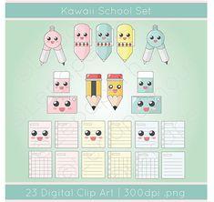 Cute Kawaii School theme clipart digital scrapbook by lepaperhouse