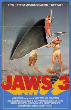 Joe Alves's Jaws Poster by Trevor Dunt. Horror Movie Posters, Cinema Posters, Film Posters, Horror Movies, Zombie Movies, Horror Icons, Horror Art, Jaws 3, Jaws Movie