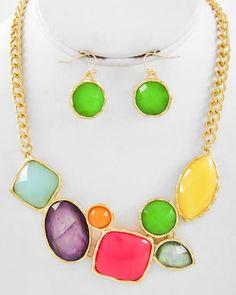 Gold Tone / Multi Color Acrylic / Lead Compliant / Necklace & Fish Hook Earring Set